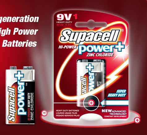 Supacell high power zinc chloride 9V battery 1 pack