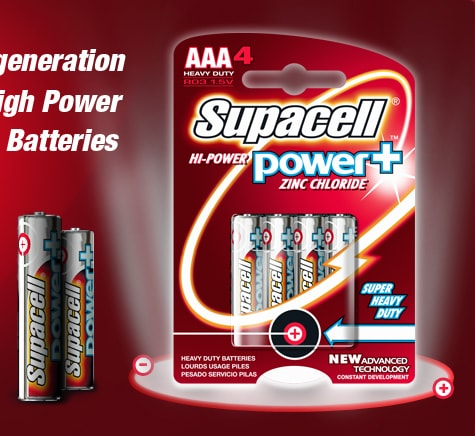 Supacell high power zinc chloride AAA batteries 4 pack